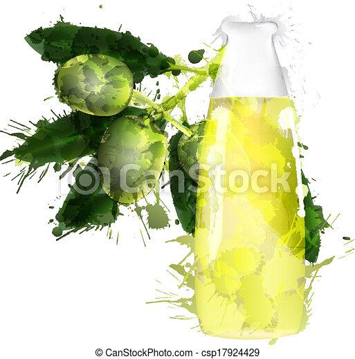 Una rama de olivo y una botella de aceite hecha de salpicaduras coloridas - csp17924429