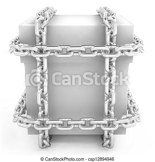acero, cajón, secreto, blanco, cadena - csp12894946