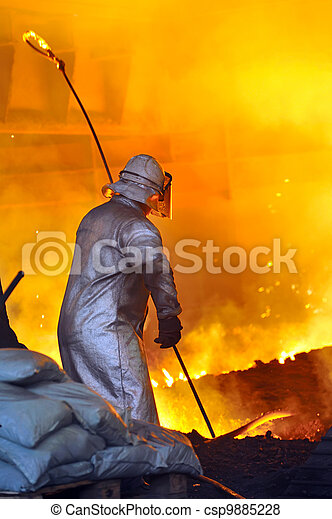 acero, caliente, trabajador - csp9885228