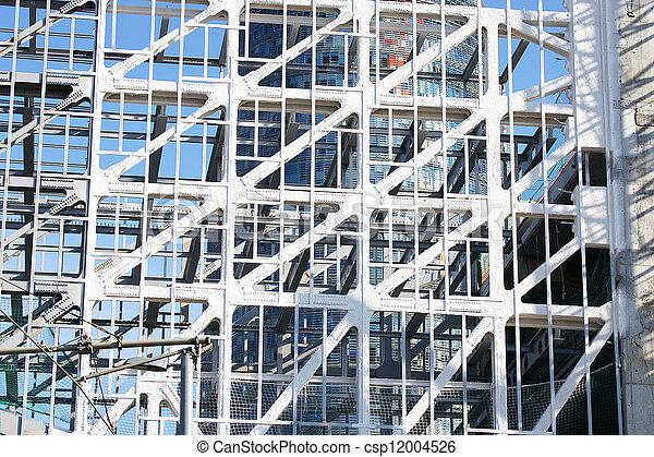 Acero, estructura de edificio. Acero, edificio, museo, barcelona ...