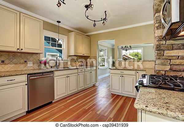 Acero, gabinetes, habitación, piso, madera dura, inoxidable ...