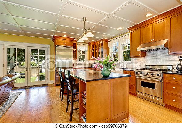 Acero, marrón, de madera, diseño, aparatos, cocina. Acero,... imagen ...