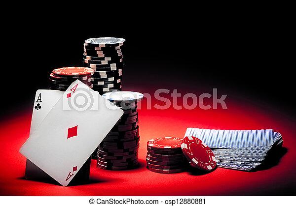 aces, пара, покер, чипсы - csp12880881