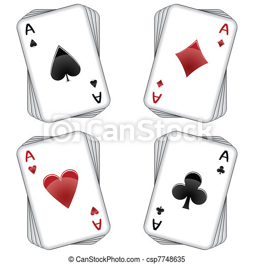 Aces Playing Cards Over White Background Abstract Vector Art