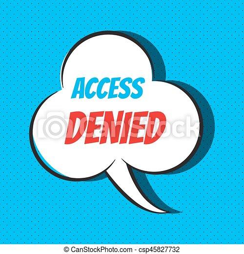 acesso, fala, negado, frase, cômico, bolha - csp45827732