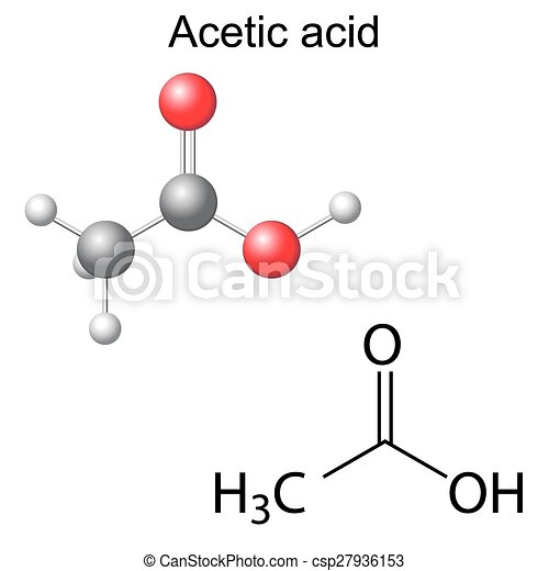 Structural Chemical Formula And Model Of Acetic Acid Clipart