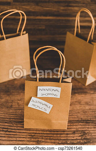 achat, achats, sourced, concept, articles, moralement, étiquettes, sac, produits, eco-amical, soutenable, intentional - csp73261540