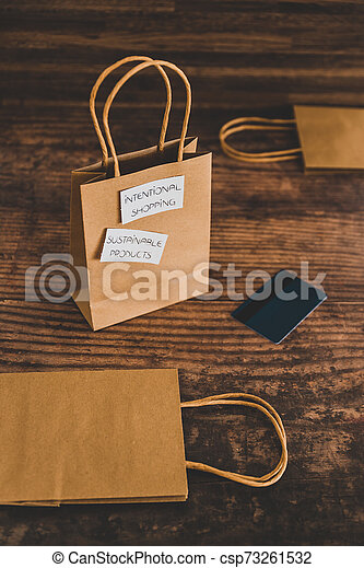 achat, achats, sourced, concept, articles, moralement, étiquettes, sac, produits, eco-amical, soutenable, intentional - csp73261532