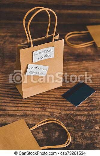 achat, achats, sourced, concept, articles, moralement, étiquettes, sac, produits, eco-amical, soutenable, intentional - csp73261534