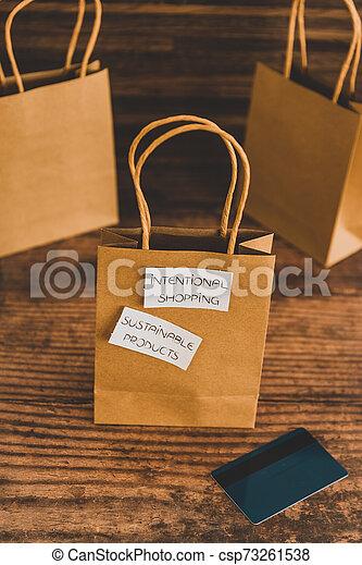 achat, achats, sourced, concept, articles, moralement, étiquettes, sac, produits, eco-amical, soutenable, intentional - csp73261538