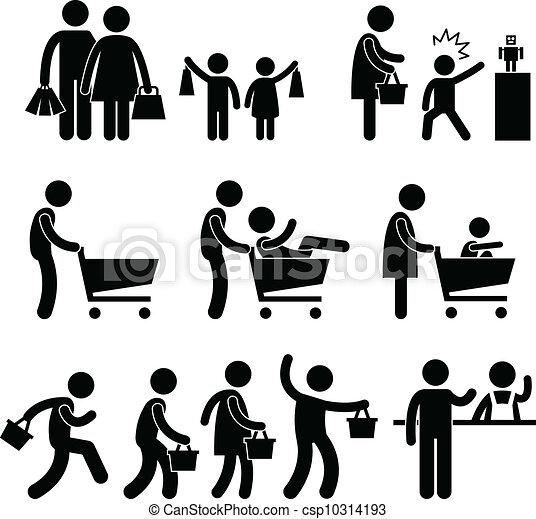 achat famille, vente, acheteur, gens - csp10314193