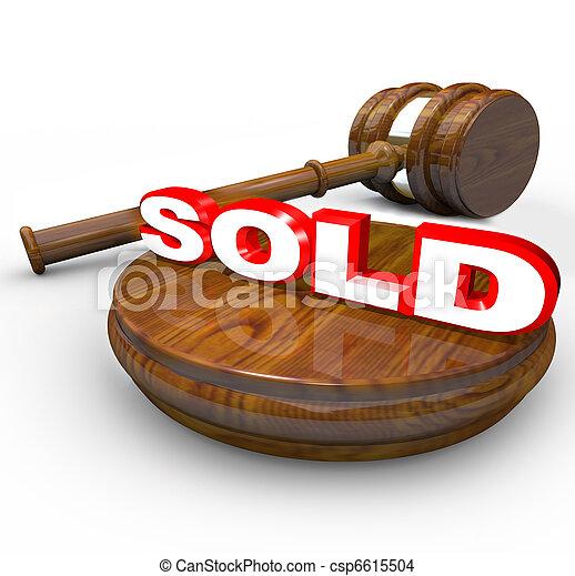 achat, mot, enchère, vendu, -, proclaims, vente, marteau, final - csp6615504