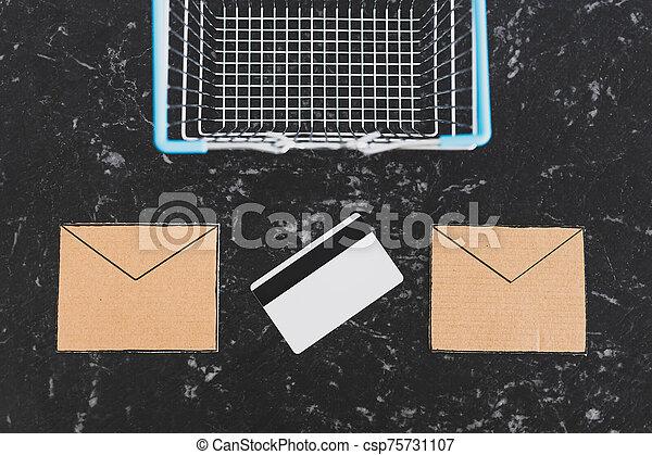 achats, cartes, paiement, panier, bulletins, email, communication, commercialisation, icônes - csp75731107