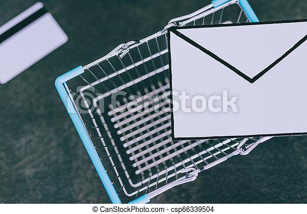 achats, enveloppe, charrette, email, béton, bureau, paiement, carte - csp66339504