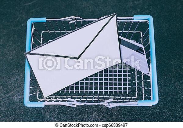 achats, enveloppe, charrette, email, béton, bureau, paiement, carte - csp66339497