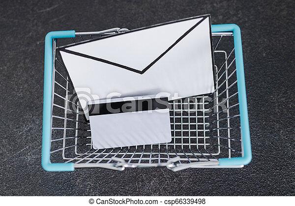achats, enveloppe, charrette, email, béton, bureau, paiement, carte - csp66339498