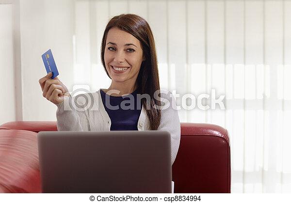 achats femme, ordinateur portable, crédit, internet, carte - csp8834994
