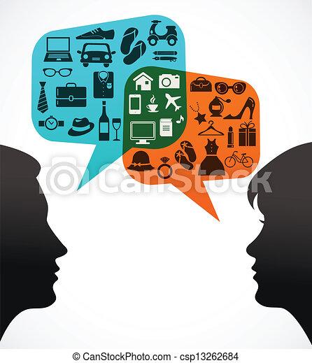 achats femme, -, thème, parole, bulles, homme - csp13262684