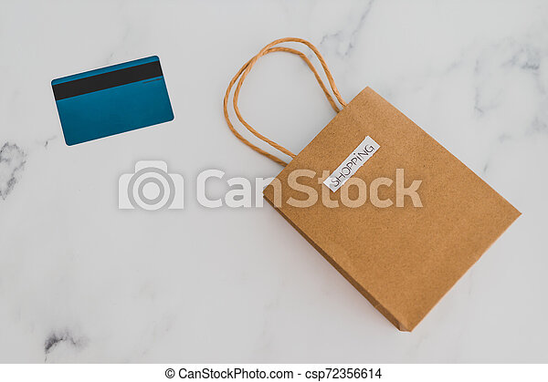 achats, flatlay, sommet, marbre, sac, table, paiement, carte - csp72356614