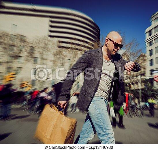 achats, homme, sac, hâte, deux âges - csp13446930