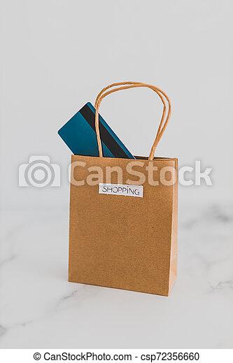 achats, sommet, paiement, sac, table, marbre, carte - csp72356660