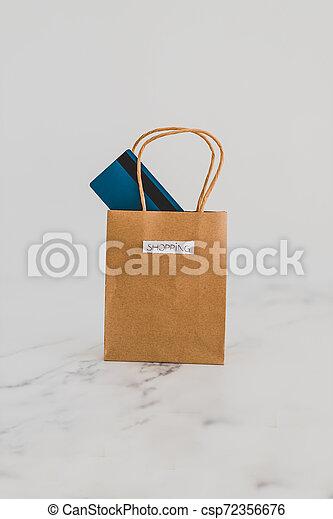 achats, sommet, paiement, sac, table, marbre, carte - csp72356676