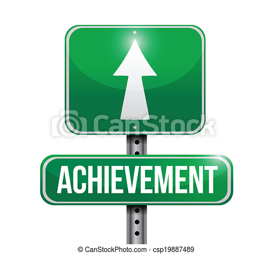achievement street sign illustration design - csp19887489