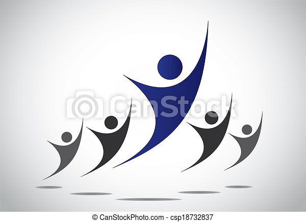 achievement, team work, success & leadership concept illustration. a leader or head of team or family dancing or jumping with joy, happiness for success and victory achieved - abstract art - csp18732837