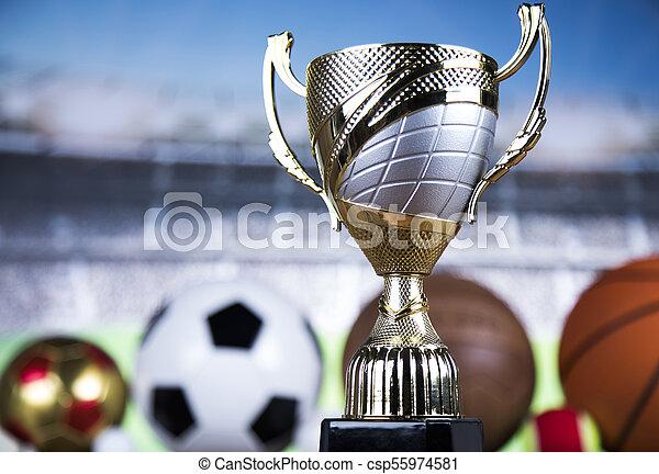 Achievement trophy, winning sport background - csp55974581