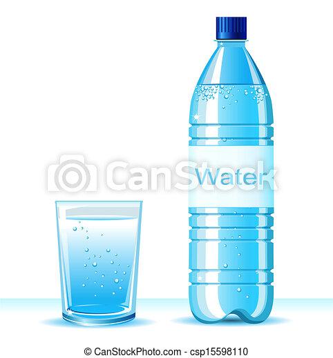 achtergrond, fles, illustratie, waterglas, schoonmaken, tekst, witte , .vector - csp15598110