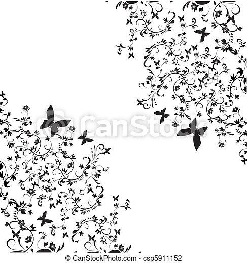 achtergrond, floral - csp5911152