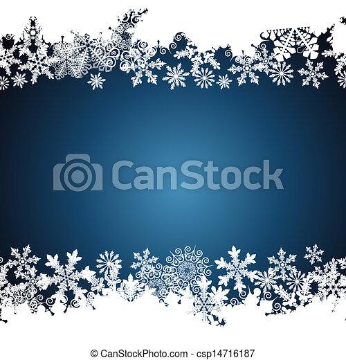 achtergrond., ontwerp, sneeuwvlok, grens, kerstmis - csp14716187