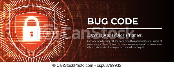 achtergrond., rood, vector., digitale , insect, code. - csp68799932