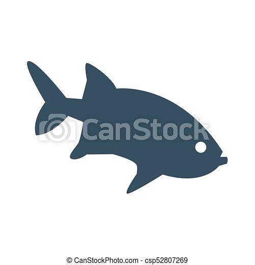 achtergrond., visje, witte , pictogram - csp52807269