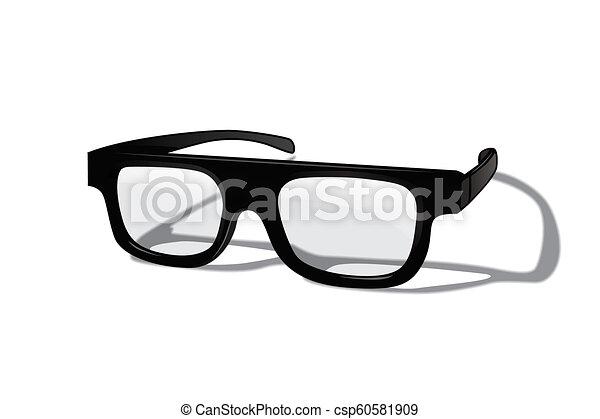 achtergrond., vrijstaand, realistisch, vector, ontwerp, witte , element., bril - csp60581909