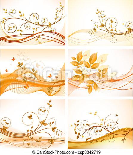 achtergronden, set, floral, abstract - csp3842719