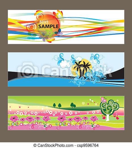 achtergronden, set, vector, abstract - csp9596764