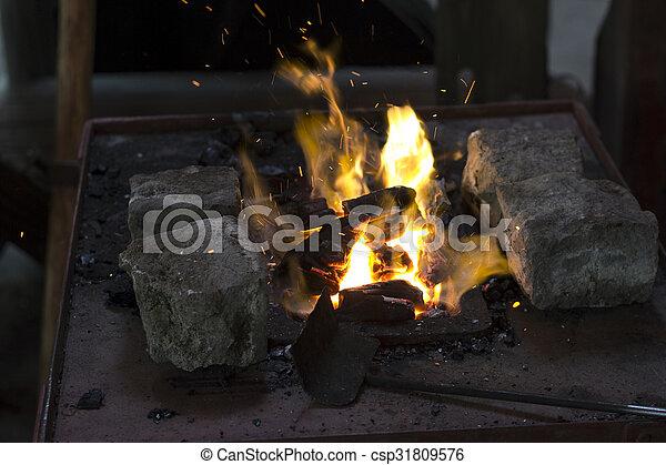 acier, chauffage, morceaux - csp31809576