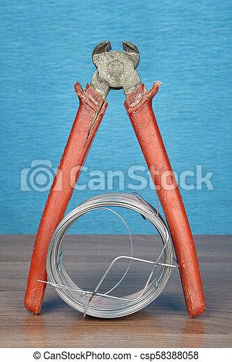 acier, fin, plastique, poignées, rouges, pinces, wire., coupeur - csp58388058