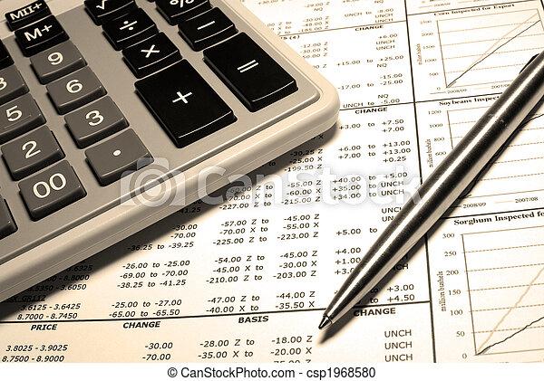 acier, financier, calculatrice, graphs., stylo, données - csp1968580