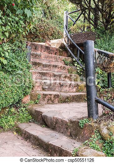 Acier, pierre, banister., escalier. Acier, pierre, rampe, jardin ...