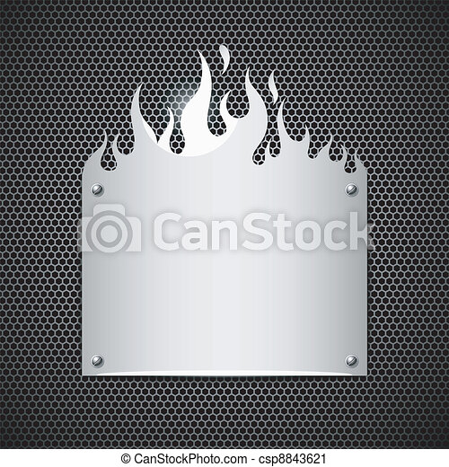 acier, sans tache, flammes, brûler, vecteur - csp8843621