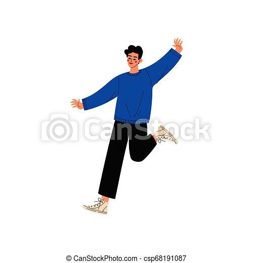 Un joven feliz saltando, un tipo celebrando eventos importantes, fiesta de baile, amistad, ilustración de vectores deportivos - csp68191087