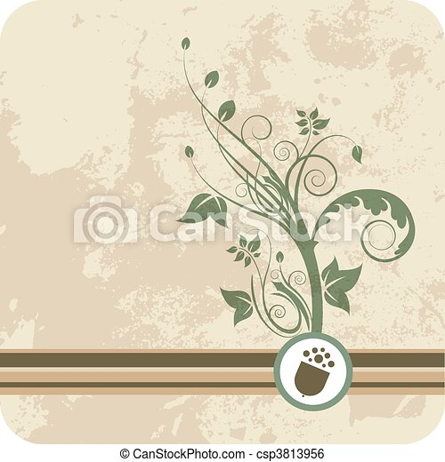 Acorn growth of green floral - csp3813956