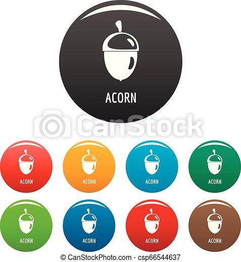 Acorn icons set color - csp66544637