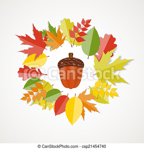 Acorn with Leaves Vector Autumn Illustration - csp21454740