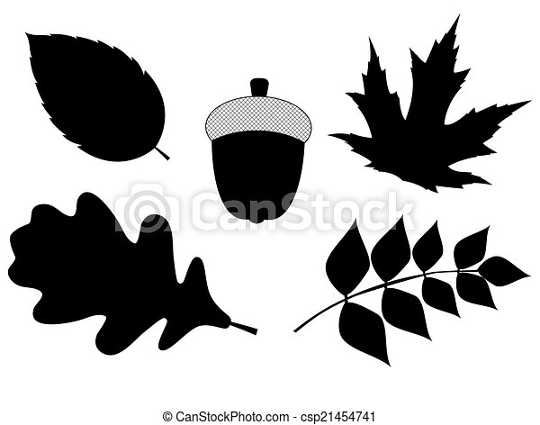 Acorn with Leaves Vector Silhouette Illustration - csp21454741