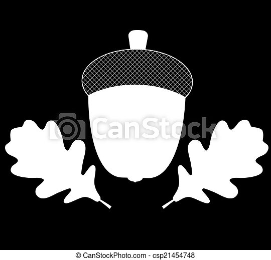 Acorn with Leaves Vector Silhouette Illustration - csp21454748