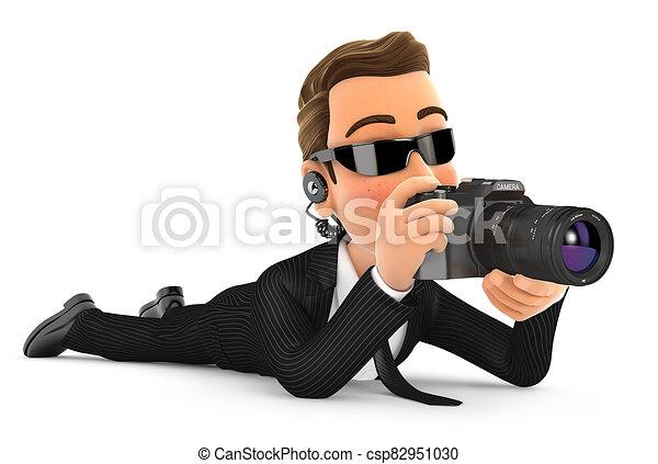acostado, seguridad, agente, cámara, 3d - csp82951030