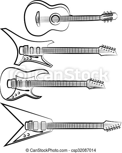 acoustic and electric guitar - csp32087014